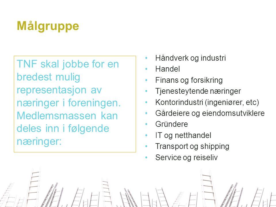 Målgruppe Håndverk og industri. Handel. Finans og forsikring. Tjenesteytende næringer. Kontorindustri (ingeniører, etc)