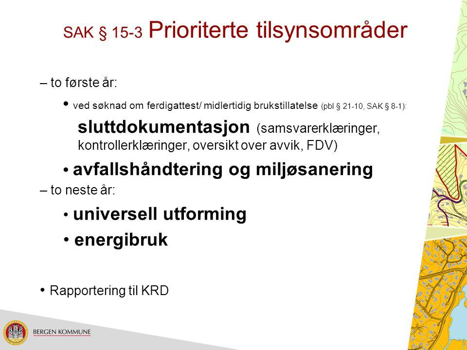 SAK § 15-3 Prioriterte tilsynsområder