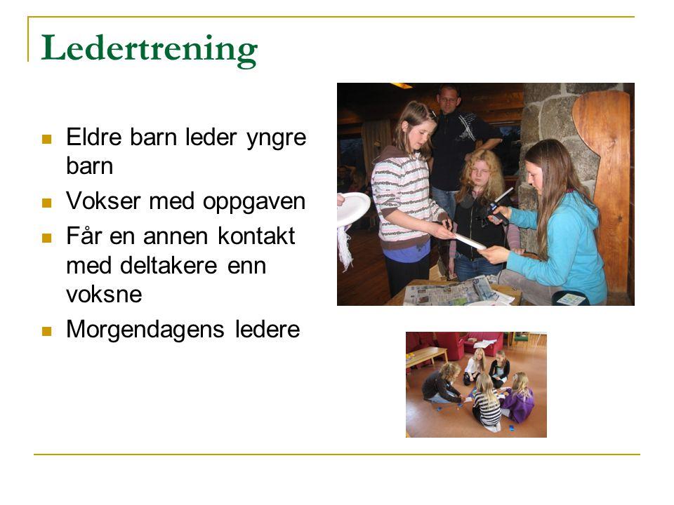 Ledertrening Eldre barn leder yngre barn Vokser med oppgaven