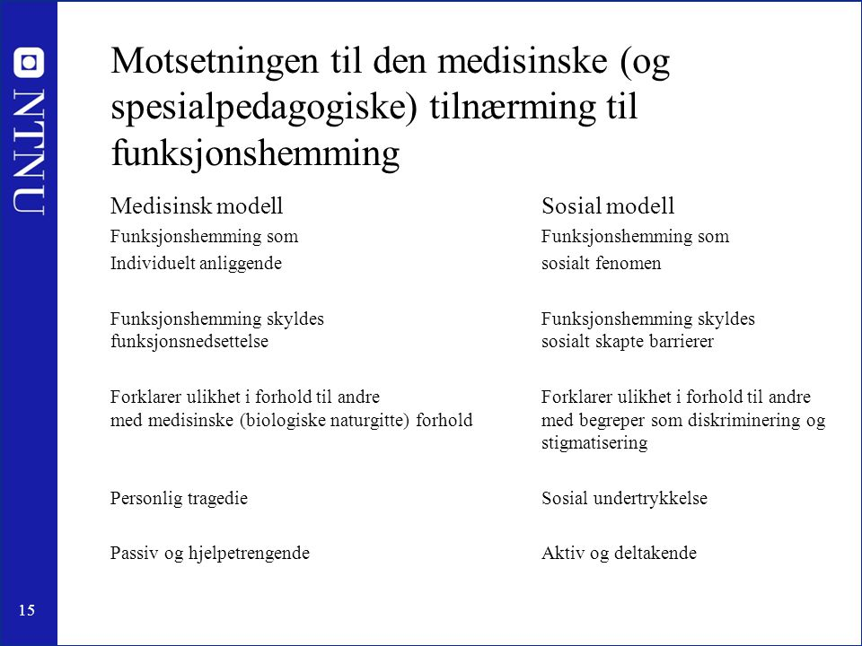 Motsetningen til den medisinske (og spesialpedagogiske) tilnærming til funksjonshemming