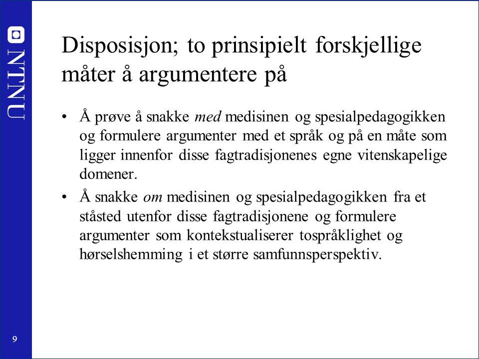 Disposisjon; to prinsipielt forskjellige måter å argumentere på