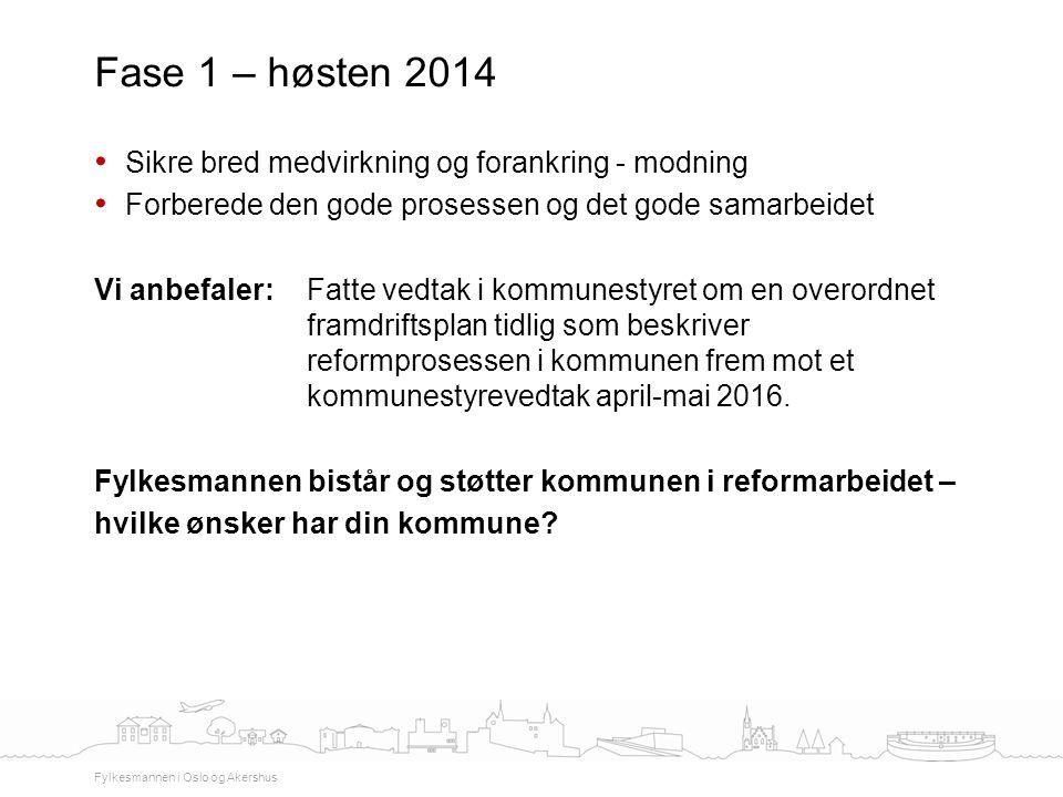 Fase 1 – høsten 2014 Sikre bred medvirkning og forankring - modning