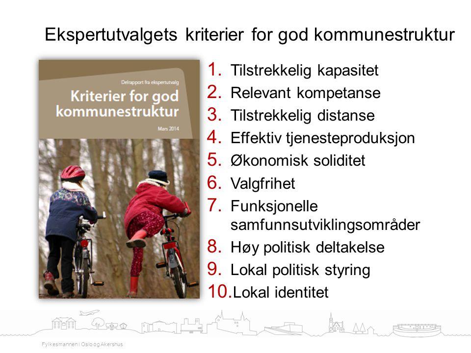 Ekspertutvalgets kriterier for god kommunestruktur