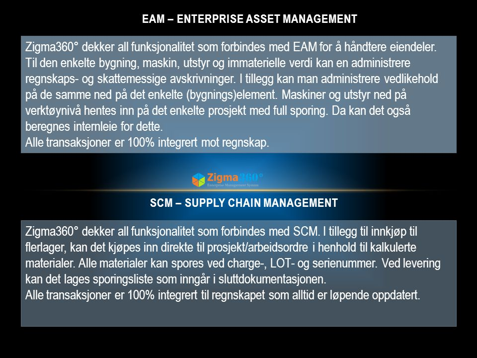 EAM – Enterprise Asset Management SCM – Supply chain Management