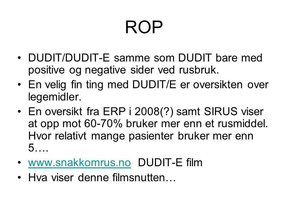 ROP DUDIT/DUDIT-E samme som DUDIT bare med positive og negative sider ved rusbruk. En velig fin ting med DUDIT/E er oversikten over legemidler.