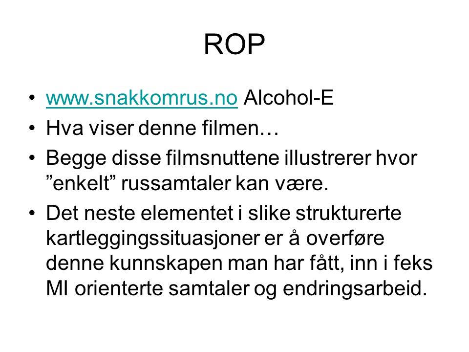 ROP www.snakkomrus.no Alcohol-E Hva viser denne filmen…