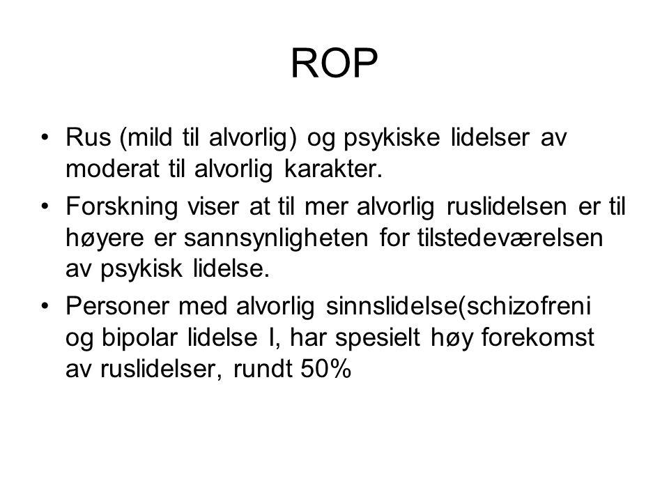 ROP Rus (mild til alvorlig) og psykiske lidelser av moderat til alvorlig karakter.