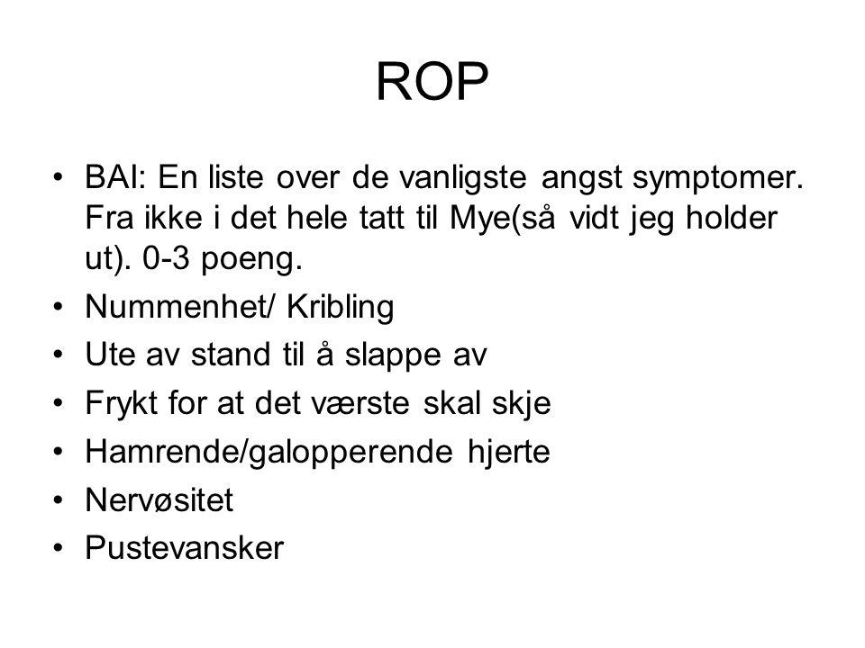 ROP BAI: En liste over de vanligste angst symptomer. Fra ikke i det hele tatt til Mye(så vidt jeg holder ut). 0-3 poeng.