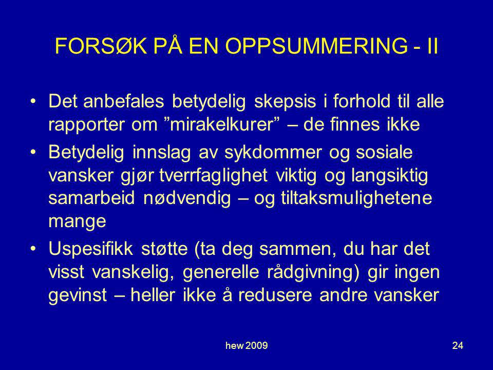FORSØK PÅ EN OPPSUMMERING - II