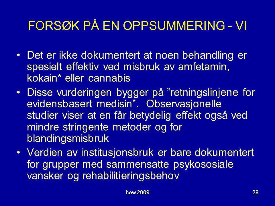 FORSØK PÅ EN OPPSUMMERING - VI