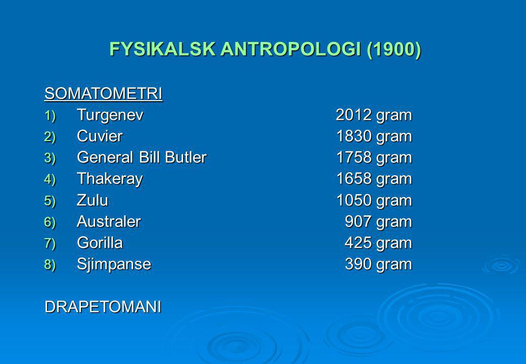 FYSIKALSK ANTROPOLOGI (1900)