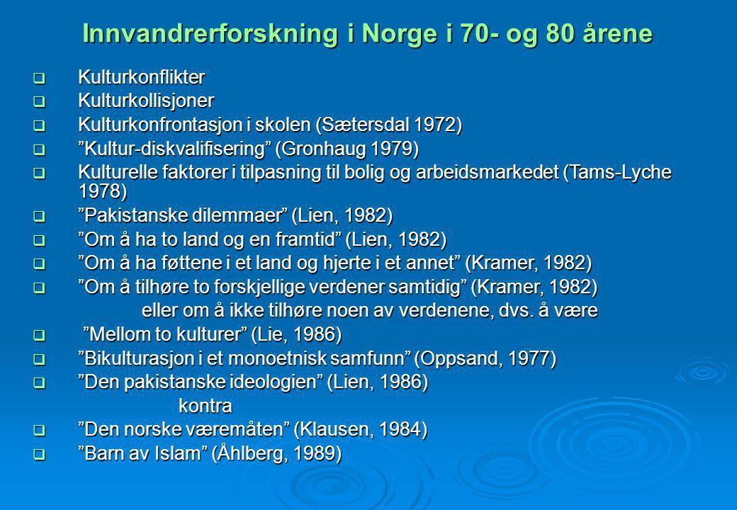 Innvandrerforskning i Norge i 70- og 80 årene