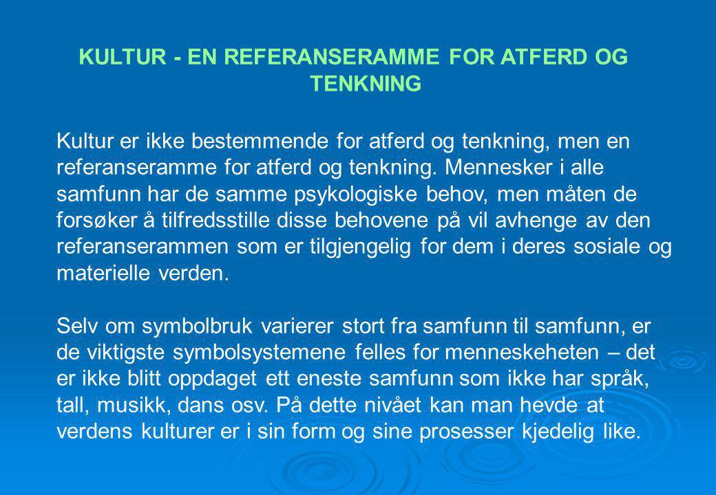 KULTUR - EN REFERANSERAMME FOR ATFERD OG TENKNING