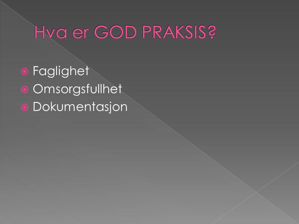 Hva er GOD PRAKSIS Faglighet Omsorgsfullhet Dokumentasjon