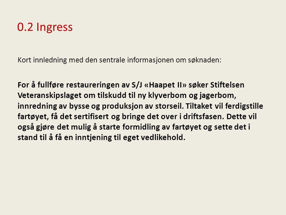 0.2 Ingress Kort innledning med den sentrale informasjonen om søknaden: