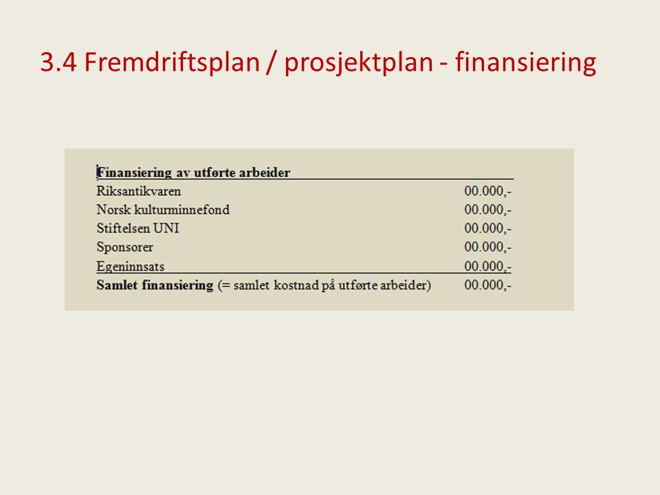 3.4 Fremdriftsplan / prosjektplan - finansiering