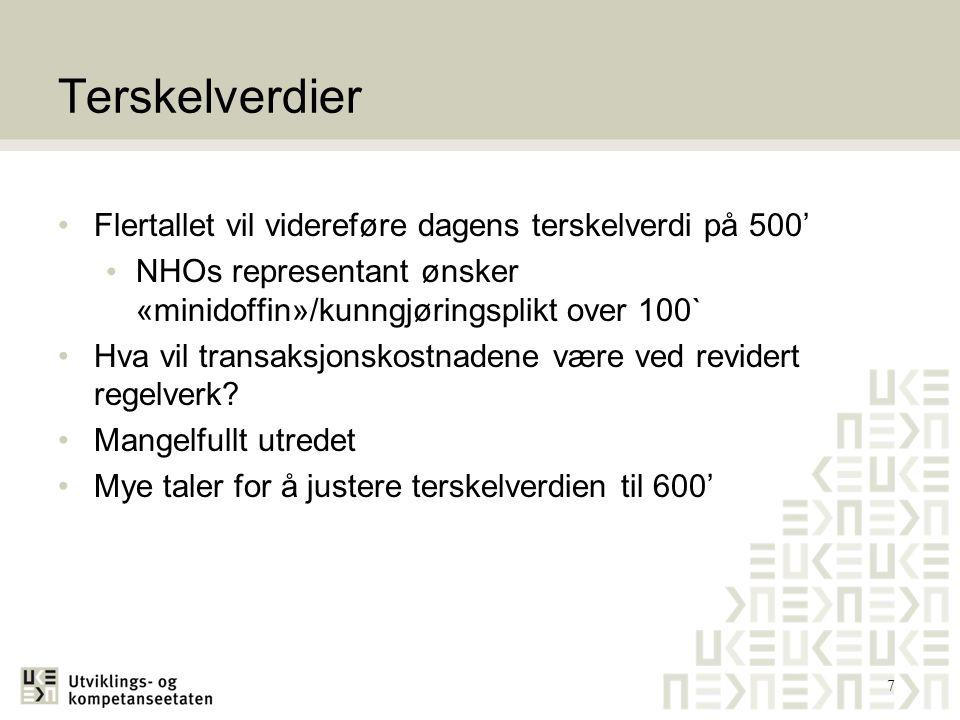 Terskelverdier Flertallet vil videreføre dagens terskelverdi på 500'