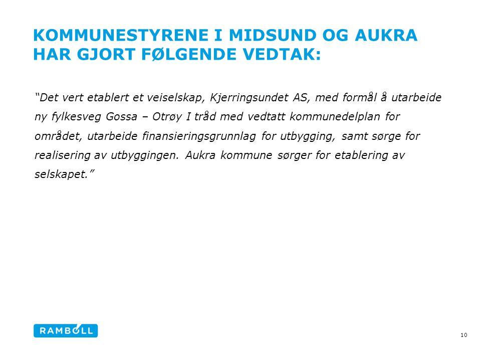 Kommunestyrene I Midsund og Aukra har gjort følgende vedtak: