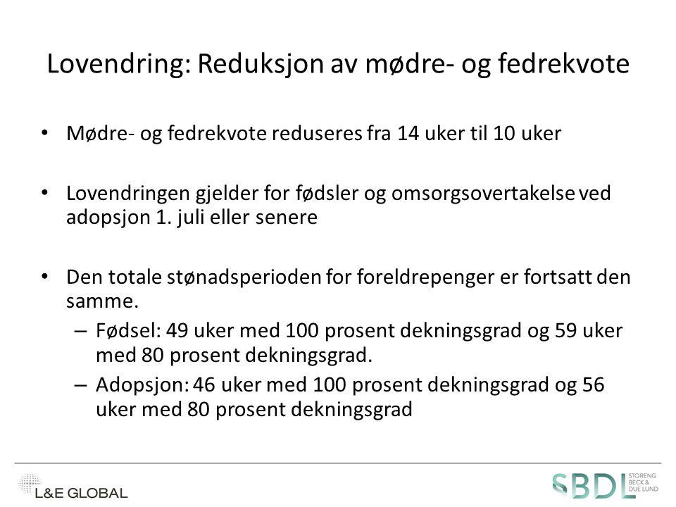 Lovendring: Reduksjon av mødre- og fedrekvote
