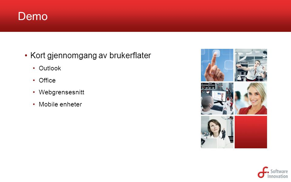 Demo Kort gjennomgang av brukerflater Outlook Office Webgrensesnitt