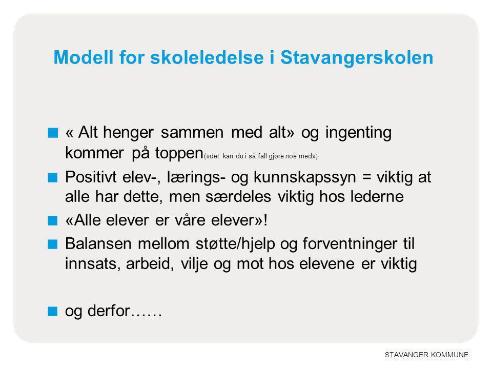 Modell for skoleledelse i Stavangerskolen
