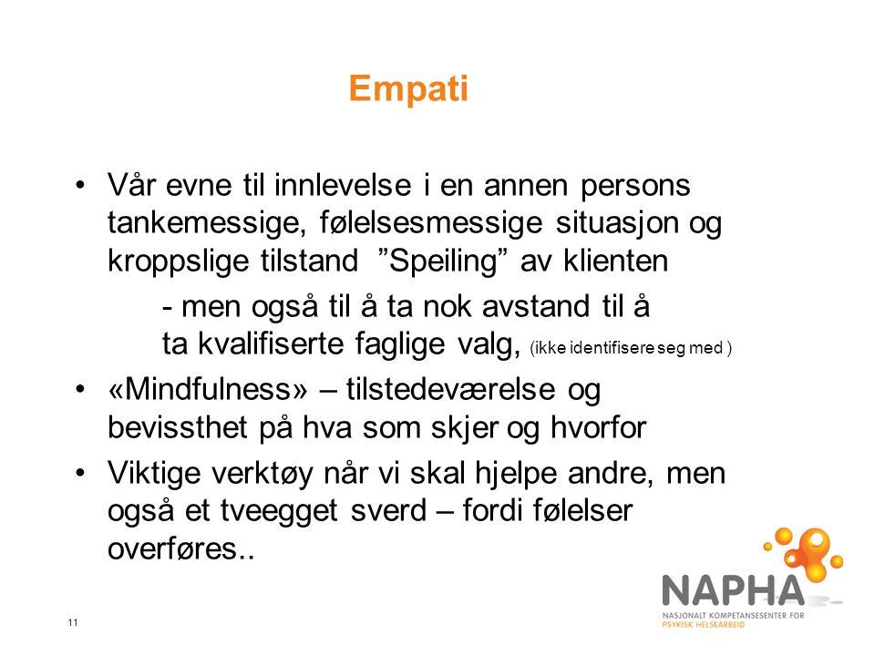 Empati Vår evne til innlevelse i en annen persons tankemessige, følelsesmessige situasjon og kroppslige tilstand Speiling av klienten.