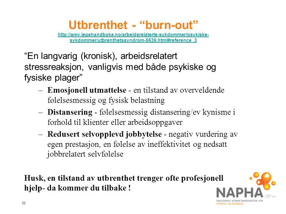 Utbrenthet - burn-out http://amv. legehandboka