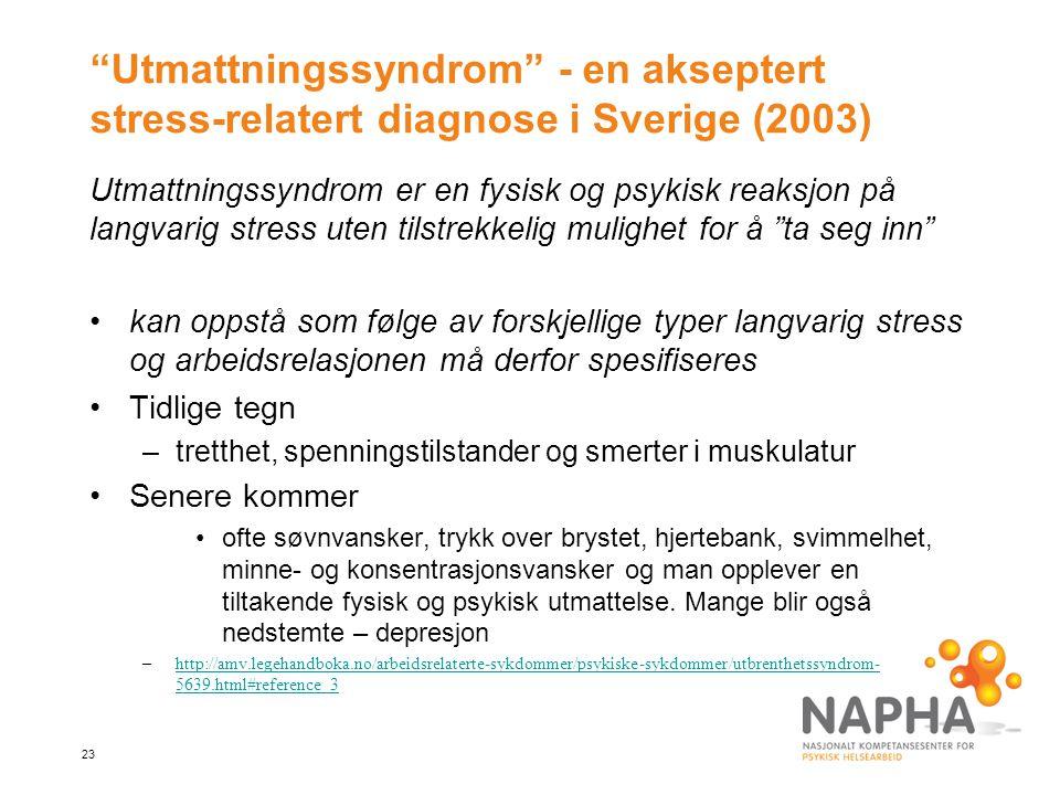 Utmattningssyndrom - en akseptert stress-relatert diagnose i Sverige (2003)