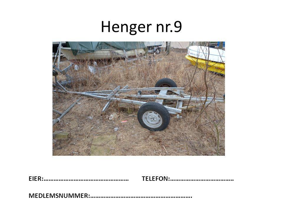 Henger nr.9 EIER:…………………………………………… TELEFON:………………………………..