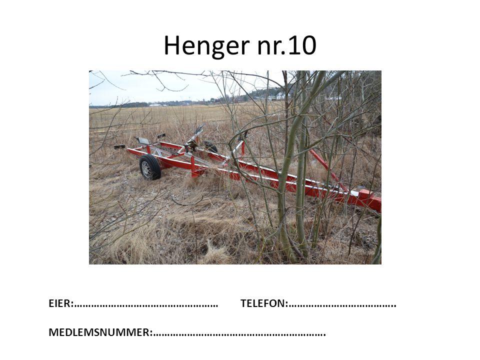 Henger nr.10 EIER:…………………………………………… TELEFON:………………………………..