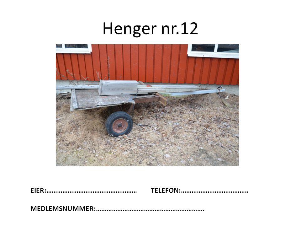 Henger nr.12 EIER:…………………………………………… TELEFON:………………………………..