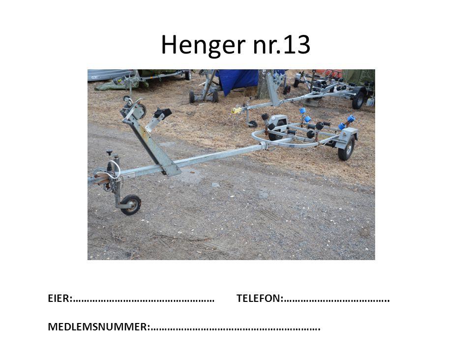 Henger nr.13 EIER:…………………………………………… TELEFON:………………………………..