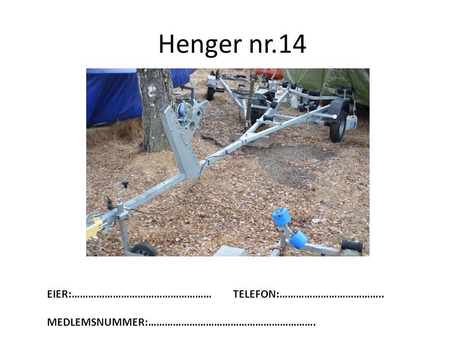 Henger nr.14 EIER:…………………………………………… TELEFON:………………………………..
