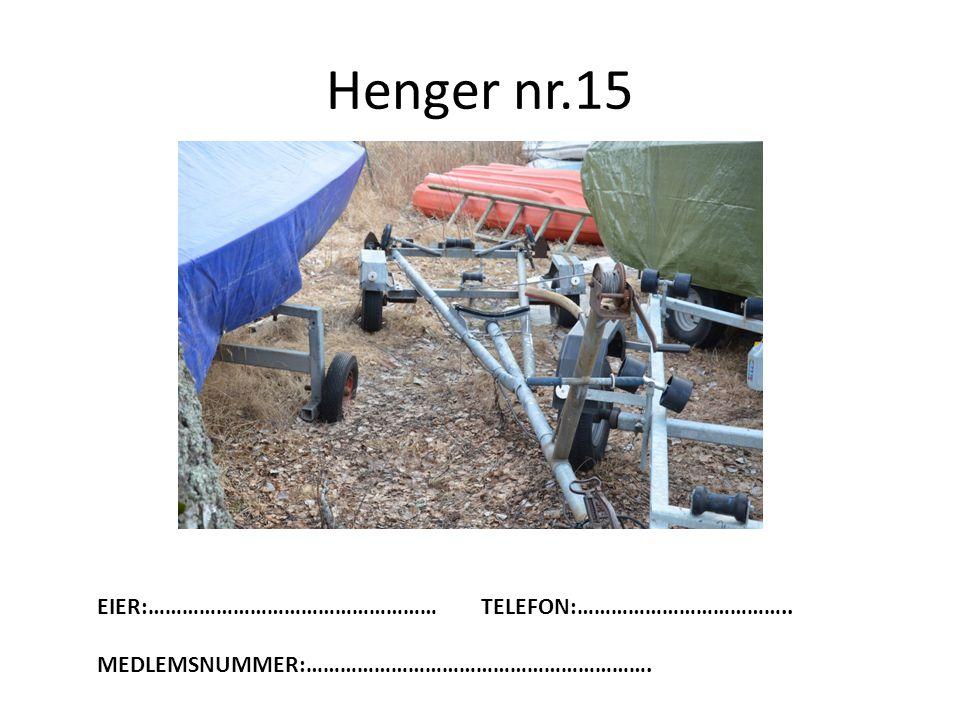 Henger nr.15 EIER:…………………………………………… TELEFON:………………………………..