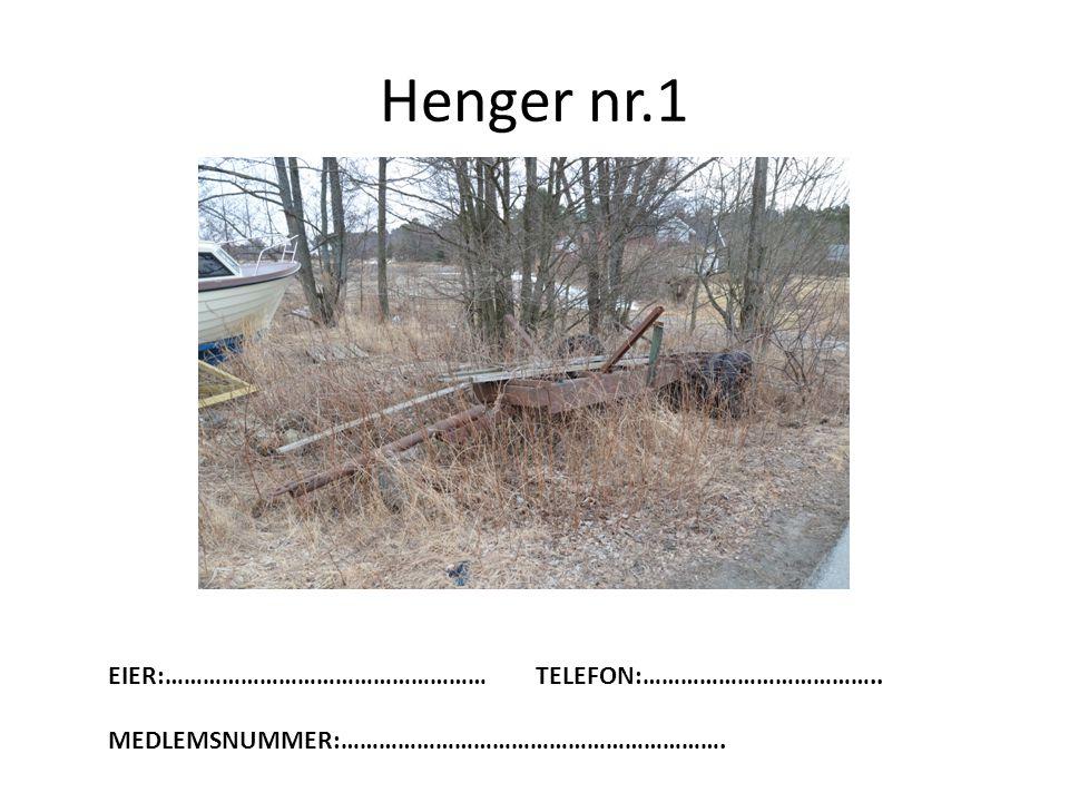 Henger nr.1 EIER:…………………………………………… TELEFON:………………………………..