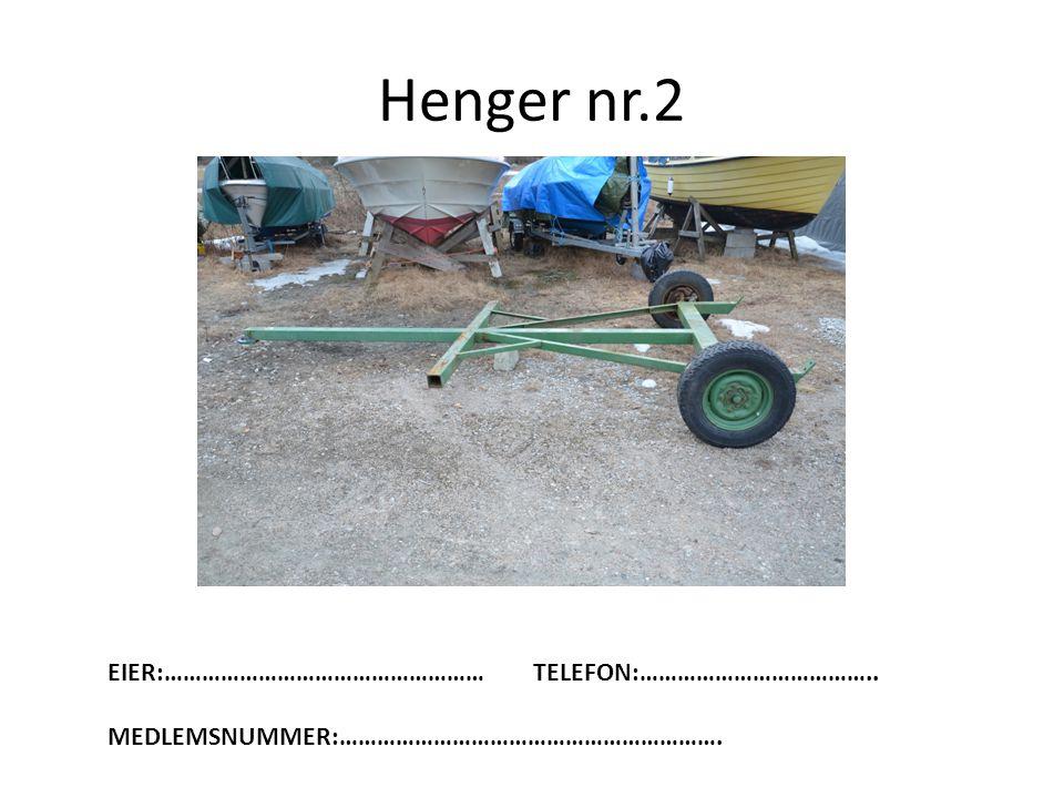 Henger nr.2 EIER:…………………………………………… TELEFON:………………………………..