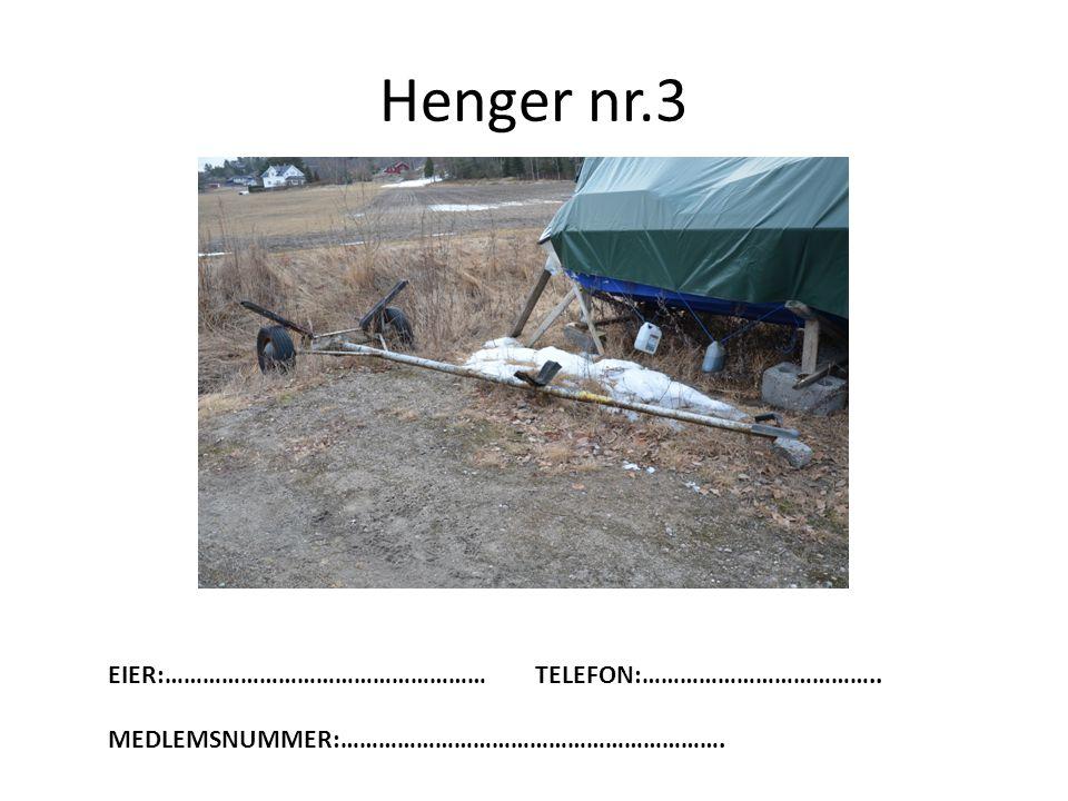 Henger nr.3 EIER:…………………………………………… TELEFON:………………………………..