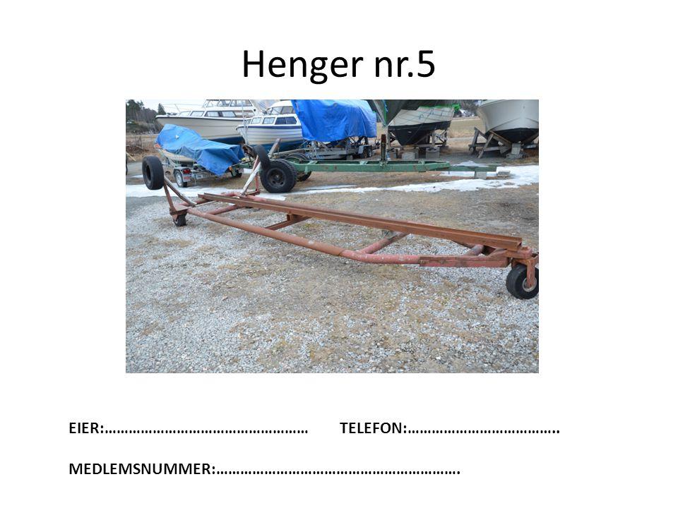 Henger nr.5 EIER:…………………………………………… TELEFON:………………………………..