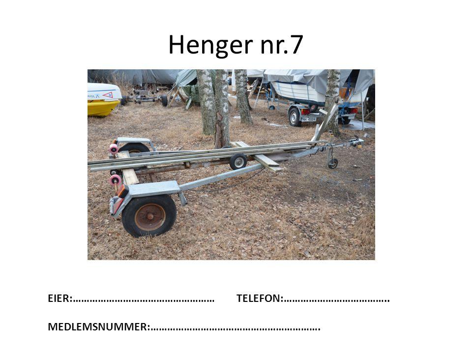 Henger nr.7 EIER:…………………………………………… TELEFON:………………………………..