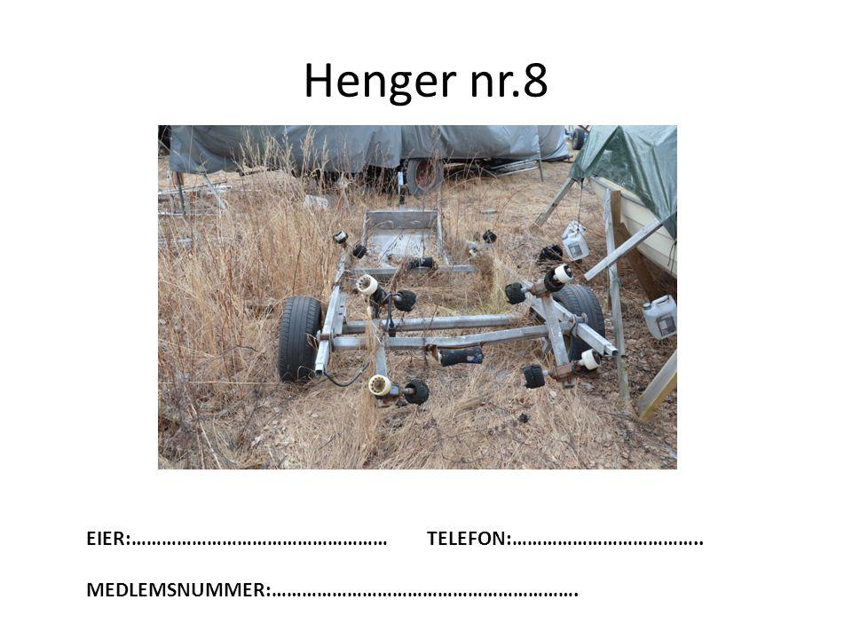 Henger nr.8 EIER:…………………………………………… TELEFON:………………………………..