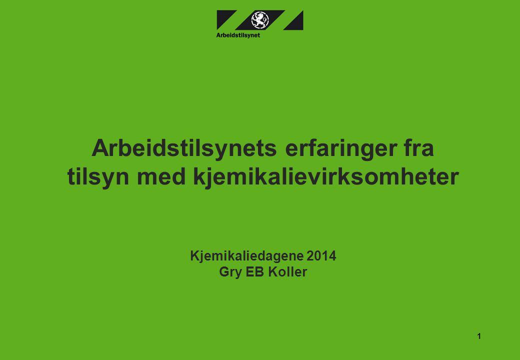 Arbeidstilsynets erfaringer fra tilsyn med kjemikalievirksomheter Kjemikaliedagene 2014 Gry EB Koller