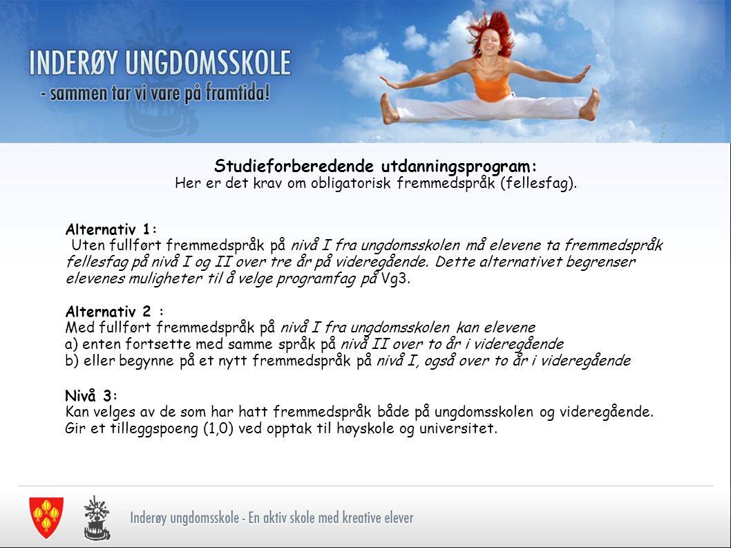 Studieforberedende utdanningsprogram: Her er det krav om obligatorisk fremmedspråk (fellesfag).