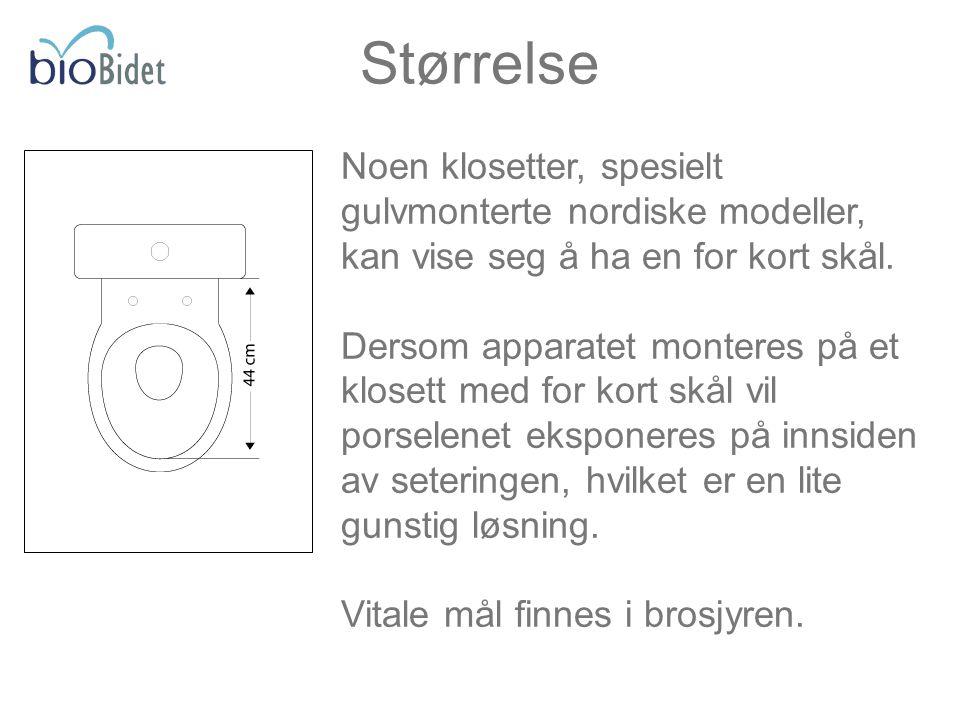 Størrelse Noen klosetter, spesielt gulvmonterte nordiske modeller, kan vise seg å ha en for kort skål.