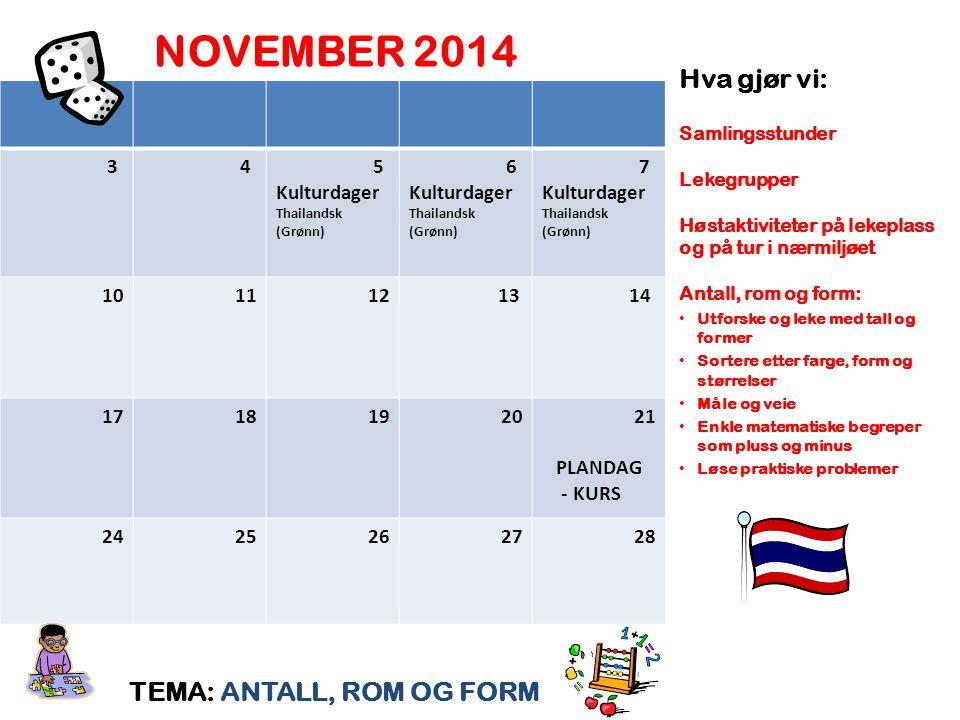 NOVEMBER 2014 Hva gjør vi: TEMA: ANTALL, ROM OG FORM 3 4 5 Kulturdager