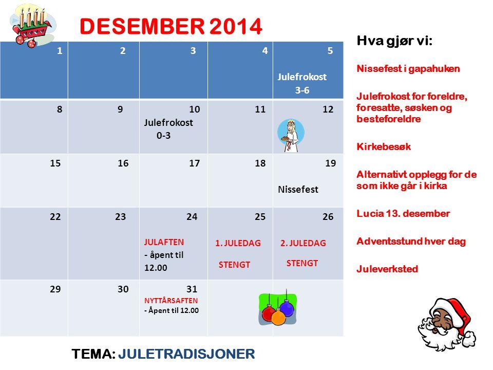 DESEMBER 2014 Hva gjør vi: TEMA: JULETRADISJONER 1 2 4 5 Julefrokost