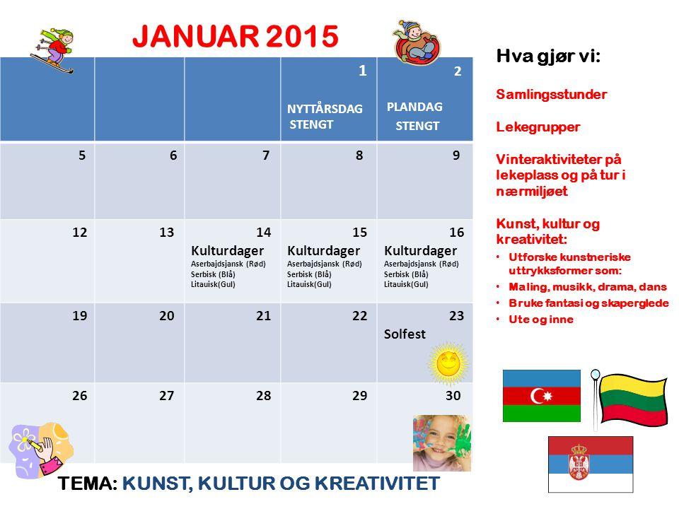 JANUAR 2015 Hva gjør vi: TEMA: KUNST, KULTUR OG KREATIVITET 1 2 5 6 7