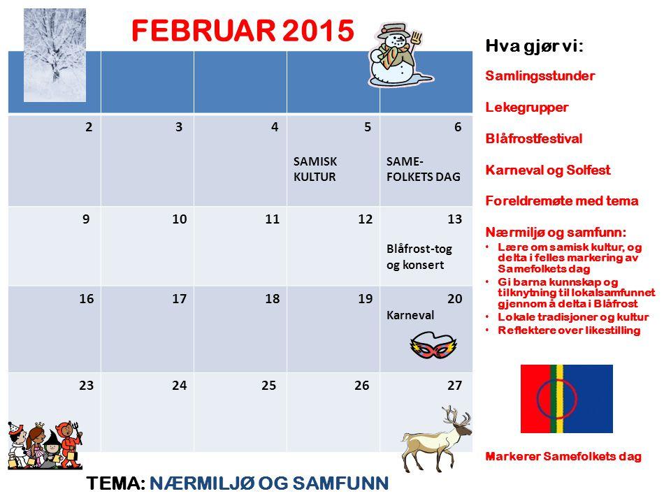 FEBRUAR 2015 TEMA: NÆRMILJØ OG SAMFUNN Hva gjør vi: 2 3 4 5 6 9 10 11
