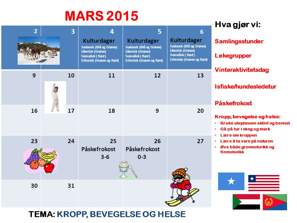 MARS 2015 Hva gjør vi: TEMA: KROPP, BEVEGELSE OG HELSE 3 4 Kulturdager