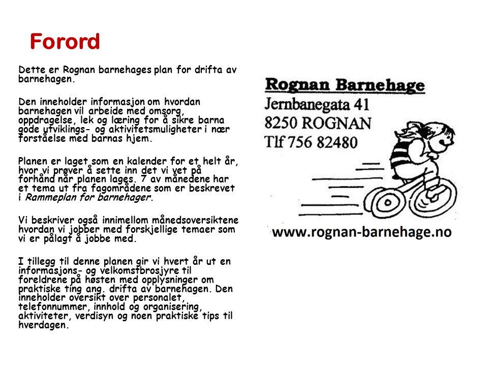 Forord Dette er Rognan barnehages plan for drifta av barnehagen.