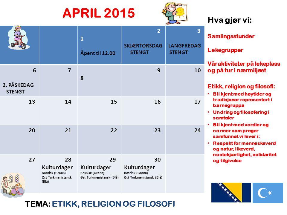 APRIL 2015 Hva gjør vi: TEMA: ETIKK, RELIGION OG FILOSOFI 1 2 3